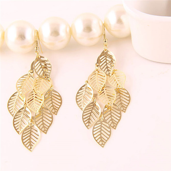 2017 Hollow Out Simple Gold Earring Designs For Women Leaves Indian Jhumka In Drop Earrings From Jewelry Accessories On Aliexpress
