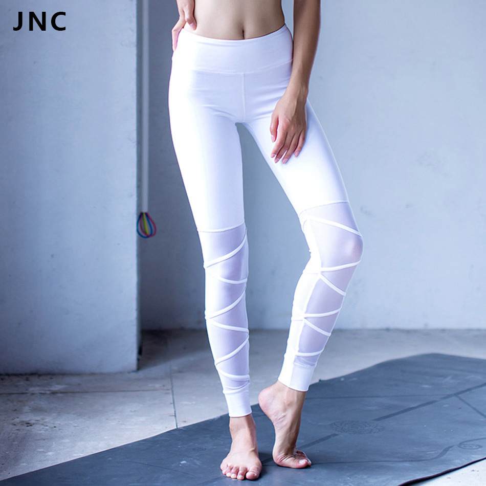 2017 New White&Black Mesh Bandage Yoga Leggings for Women Workout Tights Ballet infinity Turnout Legging for Dance Fitness Pants пуловер с короткими рукавами quelle patrizia dini by heine 89115