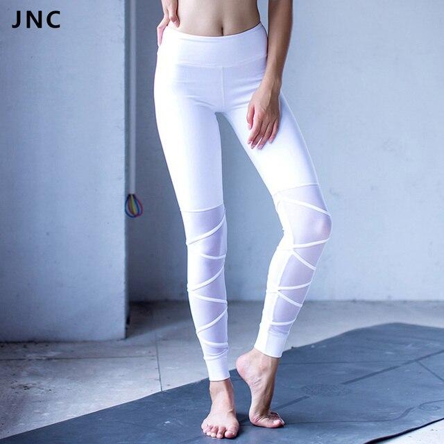 2017 Nouveau Blanc et Noir Maille Bandage Yoga Leggings pour Femmes Workout  Collants Ballet infinity Participation 79299b18205