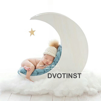 Dvotinst Newborn Photography Props Wooden White Moon Posing Bed for Baby Solid Wood Accessories Infant Studio Shoot Photo Props