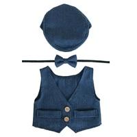 Baby Boy Clothes Newborn Photography Props Cute Newborn Vest+Hat+Tieback Set Baby Boy Outfits Newborns Photo Props Accessories