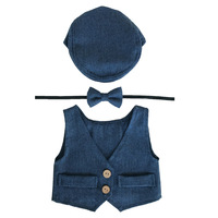 Baby Boy Clothes Newborn Photography Props Cute Newborn Vest+Hat+Tieback Set Baby Boy Outfits Newborns Photo Props Accessories