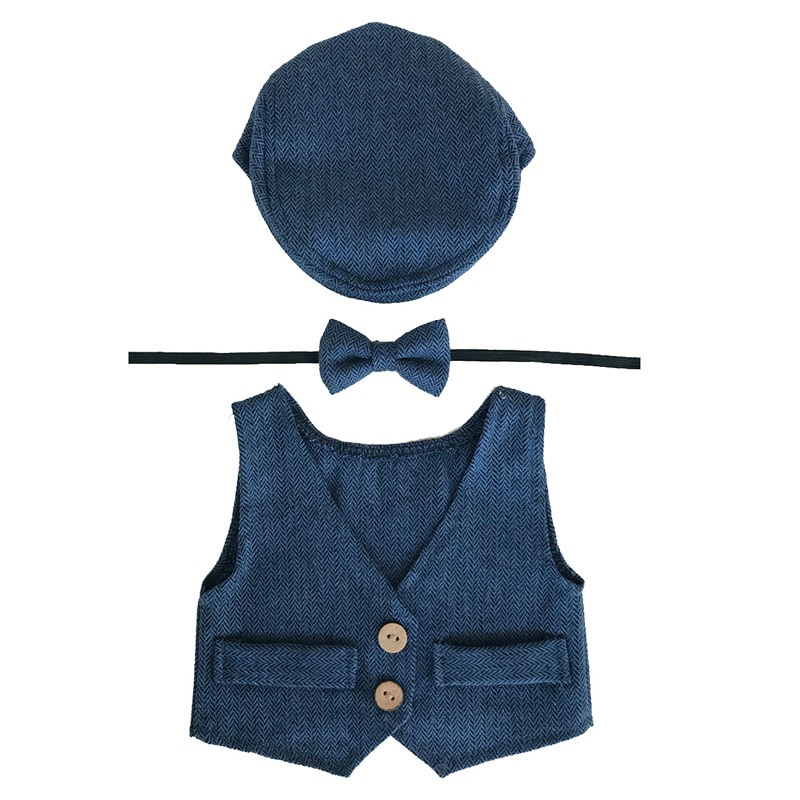 Baby Boy Clothes Newborn Photography Props Cute Newborn Vest+Hat+Tieback Set Baby Boy Outfits Newborns Photo Props Accessories christmas cute crochet knit costume prop outfits photo photography baby ear hat photo props new born baby girls cute outfits