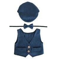 Baby Boy Clothes Newborn Photography Props Cute Newborn Vest Hat Tieback Set Baby Boy Outfits Newborns