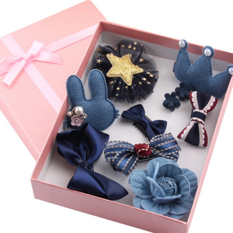 2017 10Pcs Cute Crown Bowknot Kind Hairpin Set Flower Star Girls HairClip Hair Accessories Headwear Princess Style Set Gift New