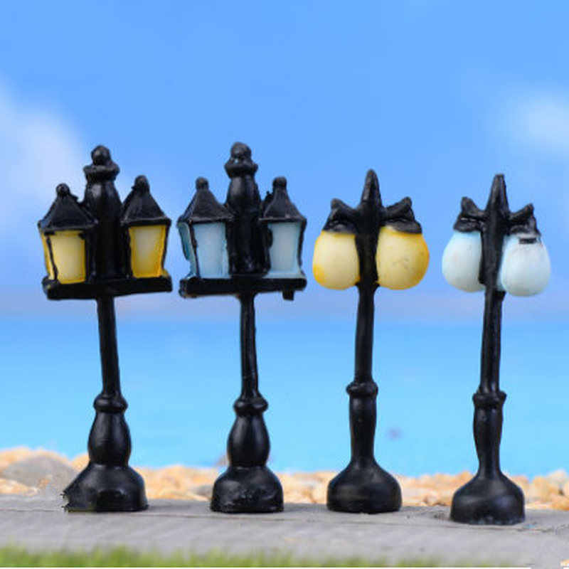 8 Style Resin Craft Mini Street Light Lamp Antique Imitation Fairy Garden Home Miniature Decor Micro Landscape