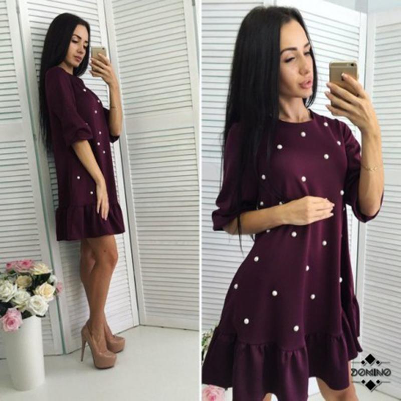 moarcho для женщин мода бисер рюшами свободное платье 2017 осенняя женская обувь половина рукавом о-образным вырезом мини платья дамские повседневные облегающее платье