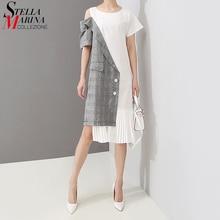 Summer Patchwork Pleated Asymmetrical Dress