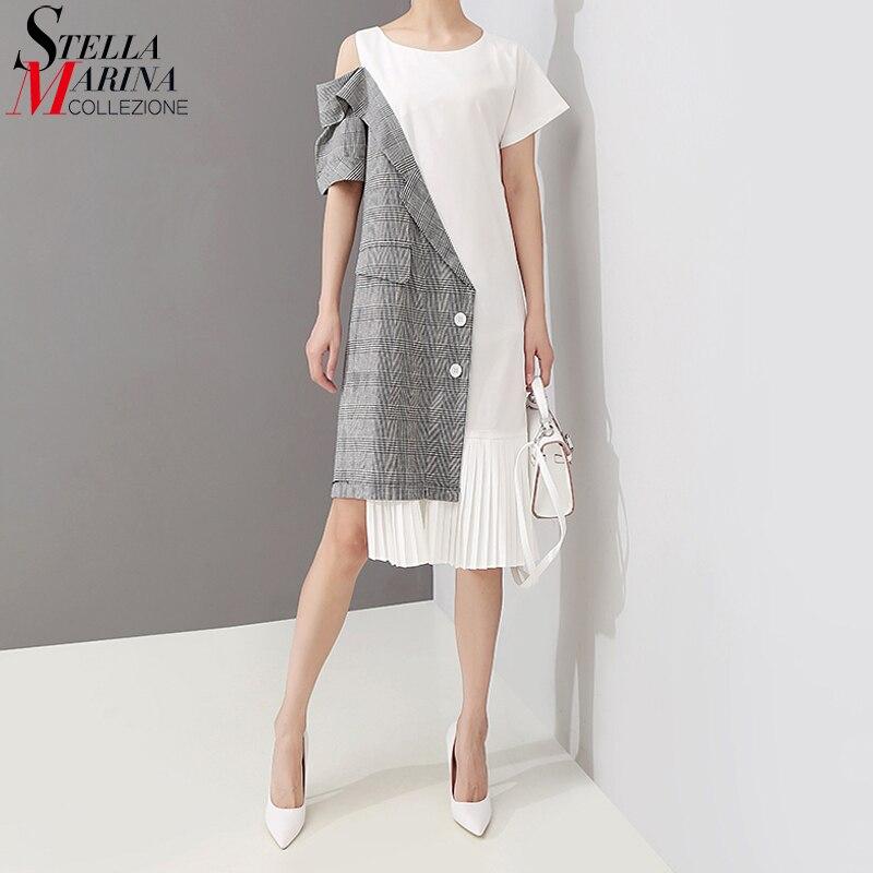 Nouveau 2019 Style coréen femmes été Patchwork plissé asymétrique Robe une épaule ouverte dame décontracté Robe Midi Robe Femme 5108