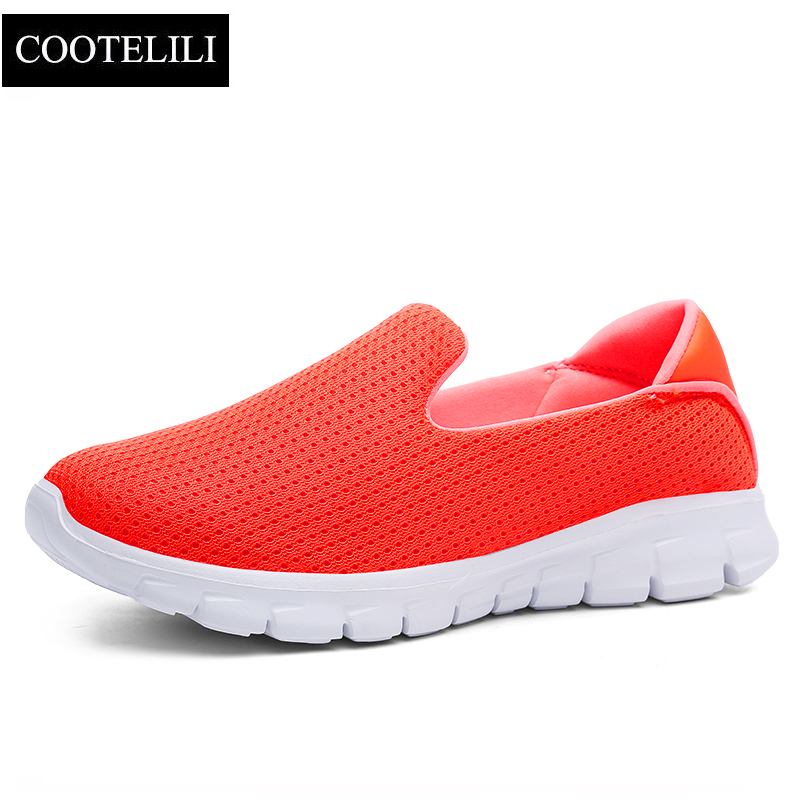 COOTELILI Women Sneakers Platform Casual Shoes Woman Flats Slip on Breathable Loafers Ladies Black Gray Blue Plus Size 40 41 42 cootelili 36 40 plus size spring casual flats women shoes solid slip on ladies loafers butterfly knot pointed toe soft shoes