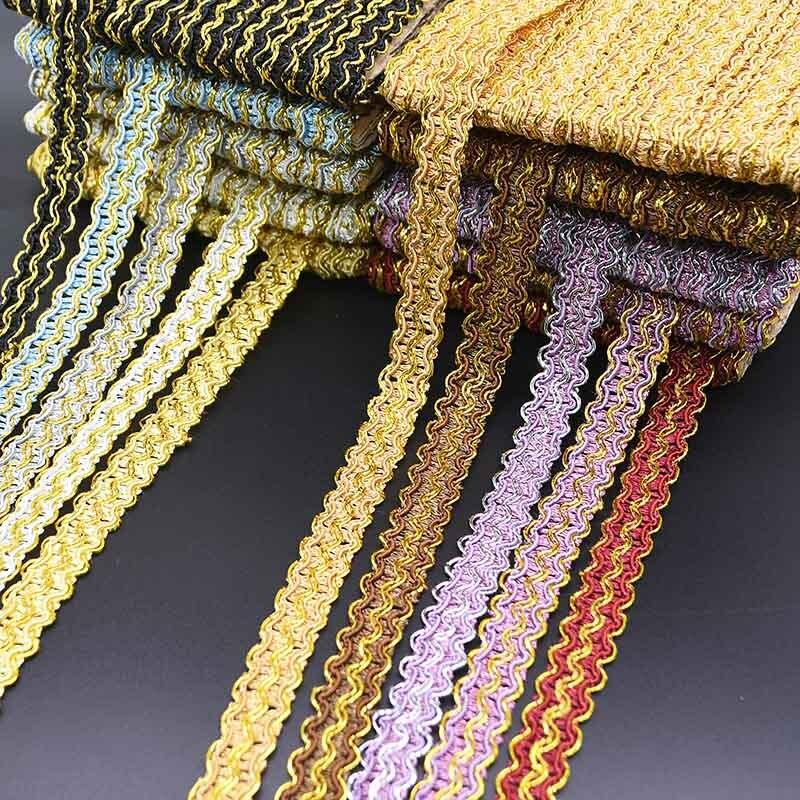 12 метров блестящая кривая кружевная лента плетеная Золотая кружевная отделка ткань для постельного белья аксессуары швейная ткань DIY занав...