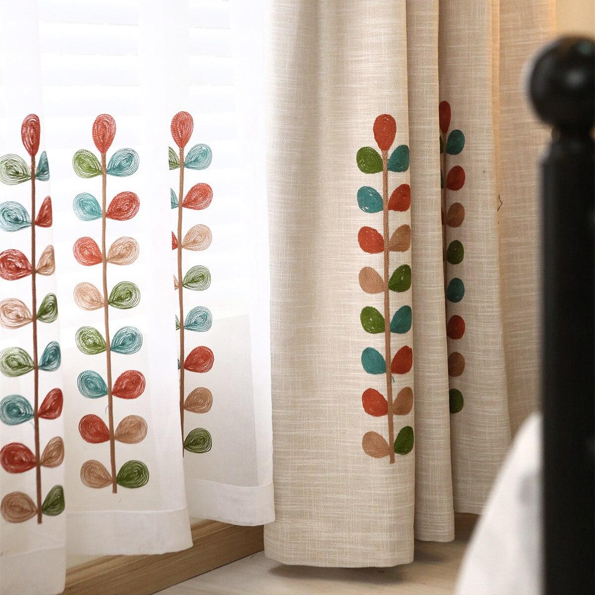 moderna de lino bordado de tela para cortinas de la ventana de la cocina saln dormitorio