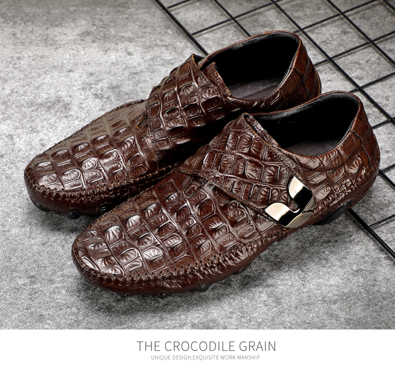 Men's Leather Casual Shoes Men Loafer Crocodile Genuine Leathers Moccasins Men Loafers Leather Casual Boat Shoes Octopus Sole (1)