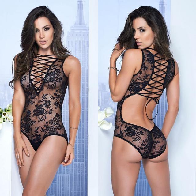 0e7674099d03 New Women Sexy Lace Bodysuit Romper Black Crochet Lingerie Fishnet Fashion  Lace-up Jumpsuit Underwear Baby Doll Sleepwear