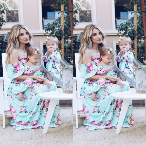 Fashion Mother And Daughter Casual Bohemian Formal Maxi Dress Mommy Daughter Matching Outfits Fashion Baby Clothing