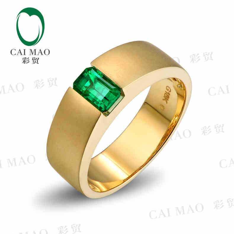 CaiMao 0 92ct Natural Emerald 18KT 750 Yellow Gold Engagement Ring font b Jewelry b font