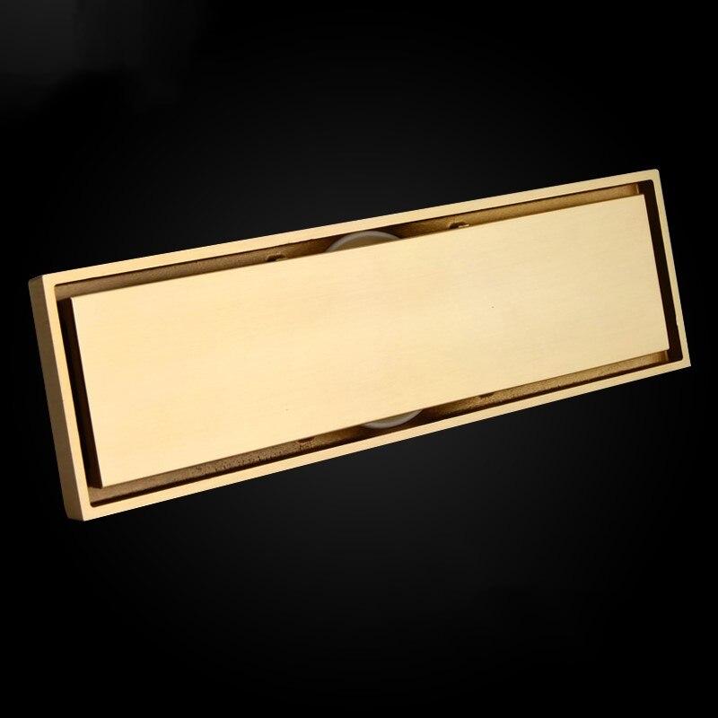 Pur cuivre en laiton 300*83mm or salle de bains Rectangle Linéaire Invisible Drain Douche Drain de Plancher Passoire égouttoir avec Insert De Tuiles grille