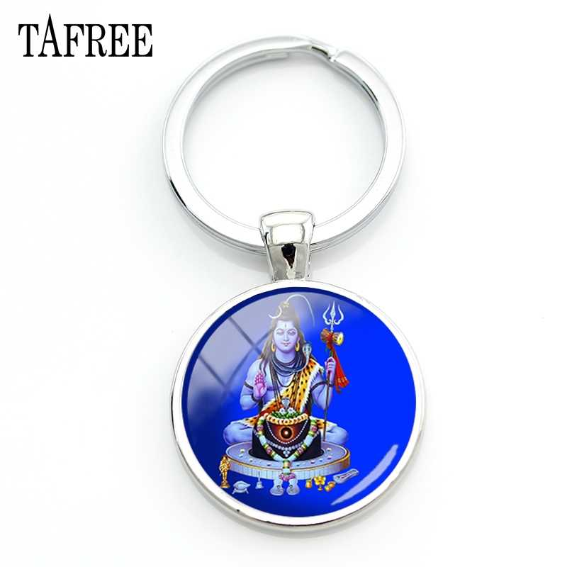 TAFREE Lord Shiva Key Chain Fashion Religious Keychains for Bag Car Key Round Women Men Hinduism lover gift Jewelry LS33