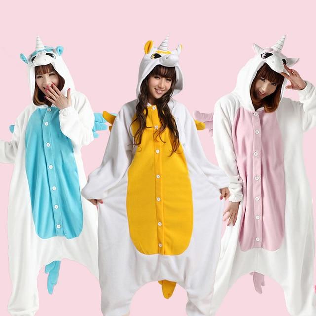 women men polar fleece pinkbluegolden unicorn onesies pajamas cosplay costumes in halloween