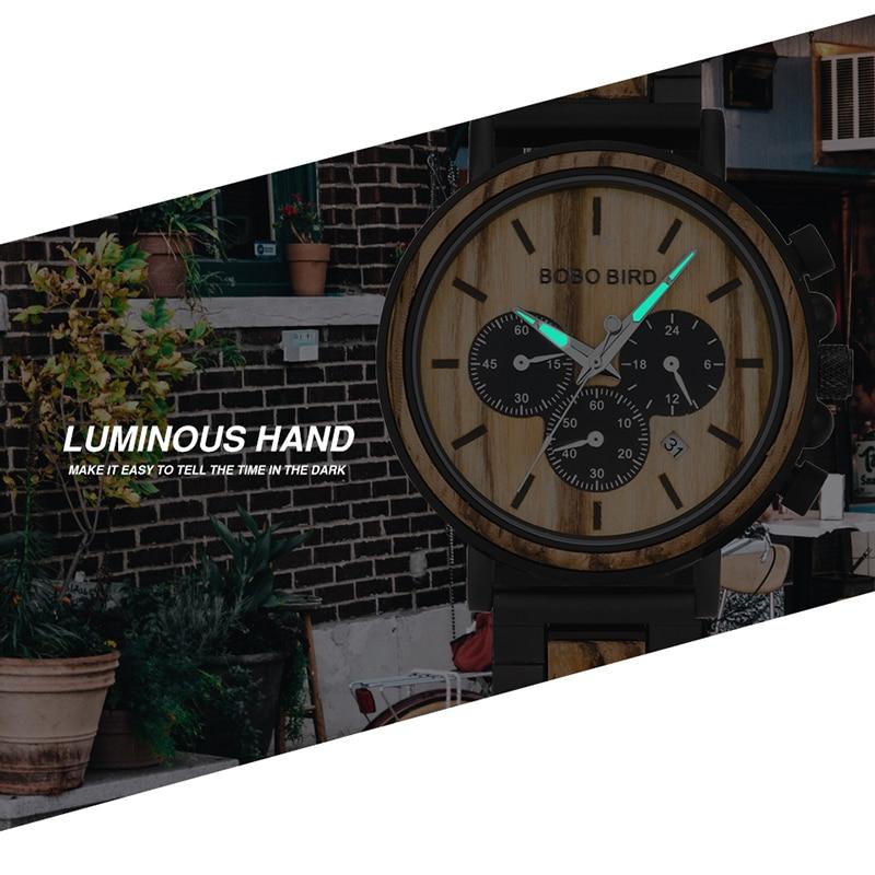 BOBO BIRD Wooden Men Watches Relogio Masculino Top Brand Luxury Stylish Chronograph Military Watch Great Gift