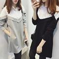Корейской моды 2016 осень тонкий элегантный длинные блузка плюс размер camisas femininas Сращивания turn down воротник женщины блузки топы рубашка