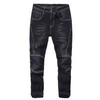 Big size men's motorcycle jeans 2019 autumn and winter new elastic harem pants jeans thick men's black blue 40 42 44 46 48