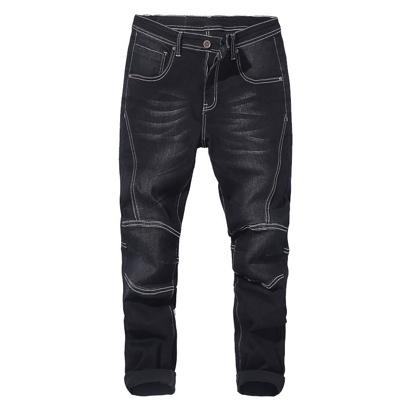 Big Size Men's Motorcycle Jeans 2019 Autumn And Winter New Elastic Harem Pants Jeans Thick Men's Black Blue 40 42 44 46 48