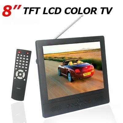 Portable 8 inch Color LCD Analog TV with VGA Port Speaker Full Function IR Remote Control Support Car & CCTV Monitor