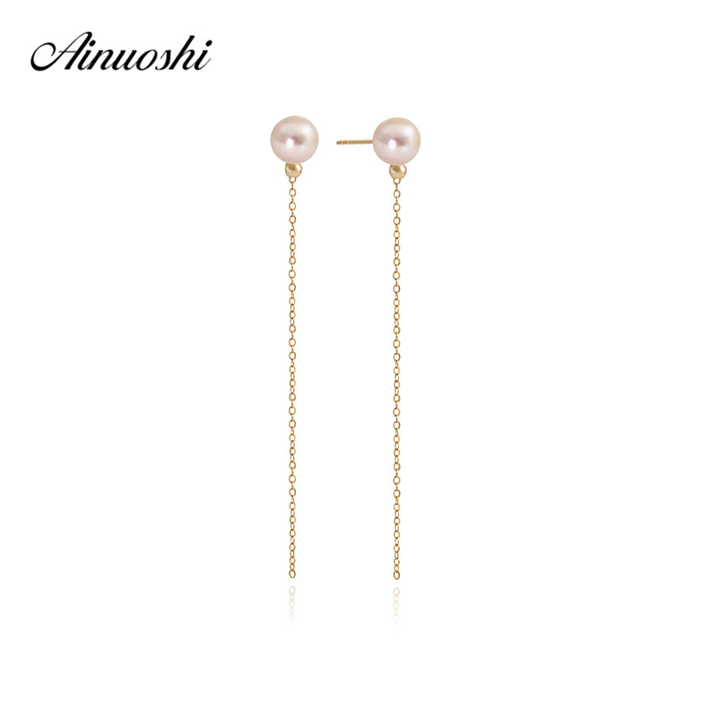 AINUOSHI 18K Yellow Gold Pearl Chain Earring Natural Pearl Drop Link Earring Women Pearl Ear Line Dangle Earring Girls Jewelry