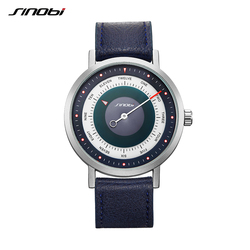SINOBI 9809 Brand Rotate Creative Designer Men Sport Watches Steel Leather Quartz Clock Military Waterproof Wrist Watch Relogio