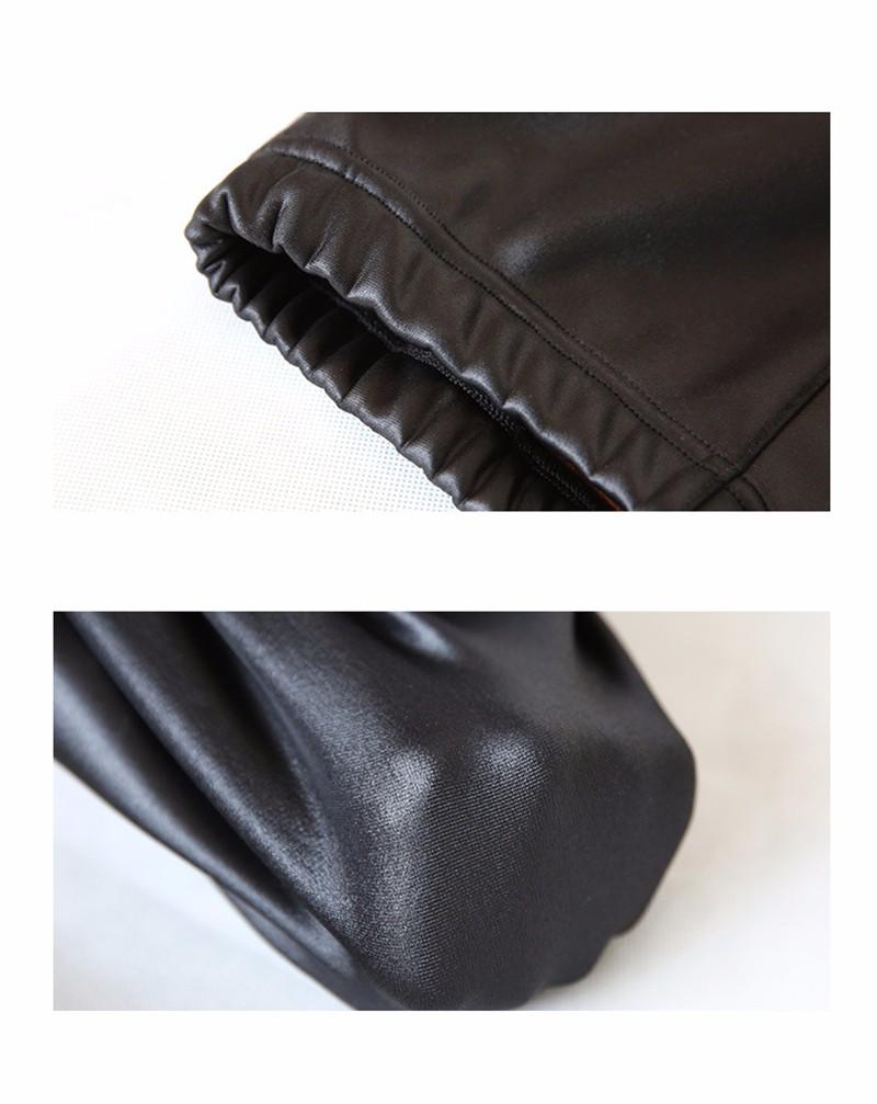 Fleece Winter Black Leather Leggings