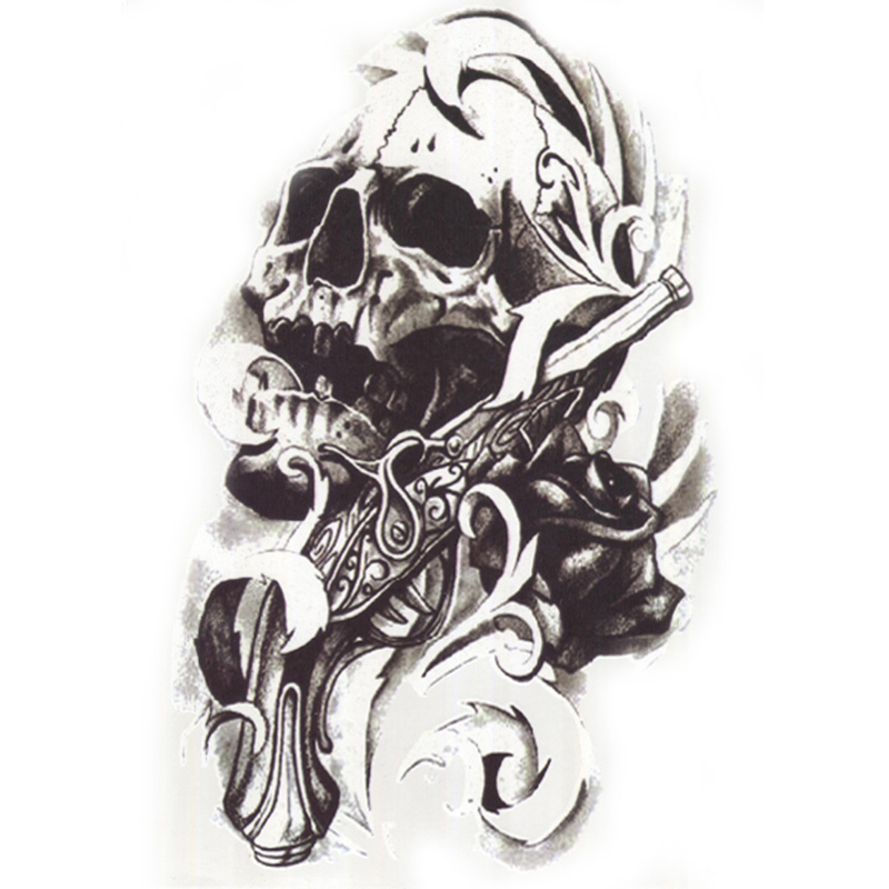 1Pcs Metallic Tattoo for Men Cool Skull Head Guns Stickers On The Body Henna Tattoo Flas ...