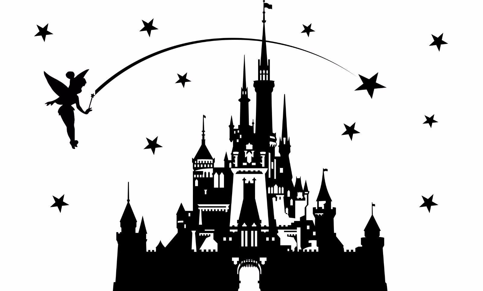 Carton Castle Fairytale Princess Tinkerbell Wall Art Decal Sticker - Decoración del hogar - foto 4