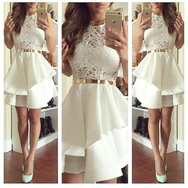 2017 New lvory Short Appliques Layers Hot Sale Sleeveless Above Length Satin Custom Cocktail Dresses Lace A-line Party Dress