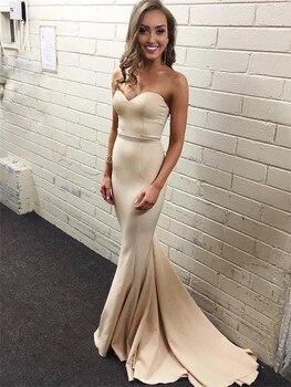Elegant Light Champagne Mermaid Evening Dress Strapless Sleeveless Floor Length Long Prom Gowns 2019 Cheap Wedding Party Dresses
