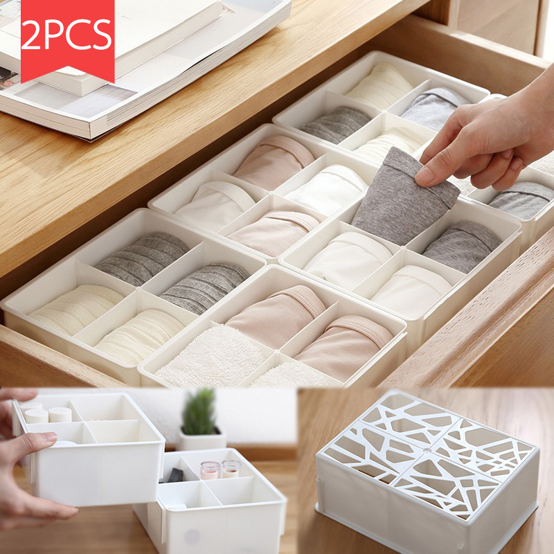 New PP hollow sorting box underwear storage boxes desktop drawer classification Combinable storage organizers Home accessories drawer