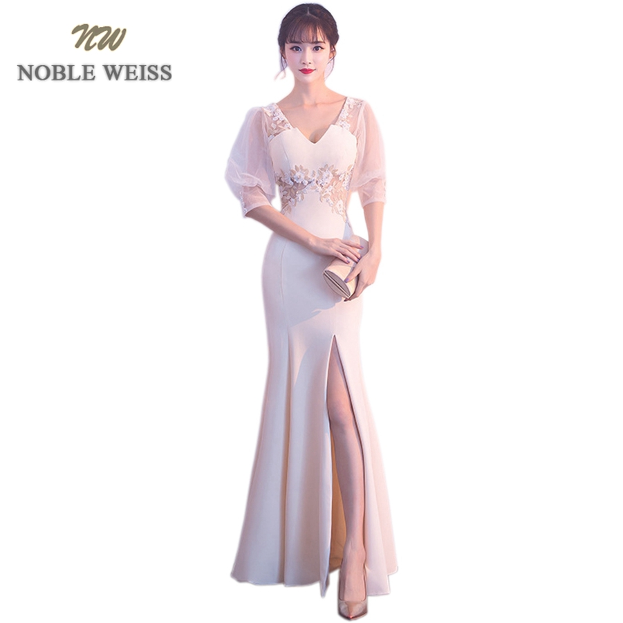 NOBLE WEISS Elegant Champagne Evening   Dress   Mermaid Lace   Prom   Gowns Formal Evening Gown Satin   Prom     Dress   With Short Sleeves