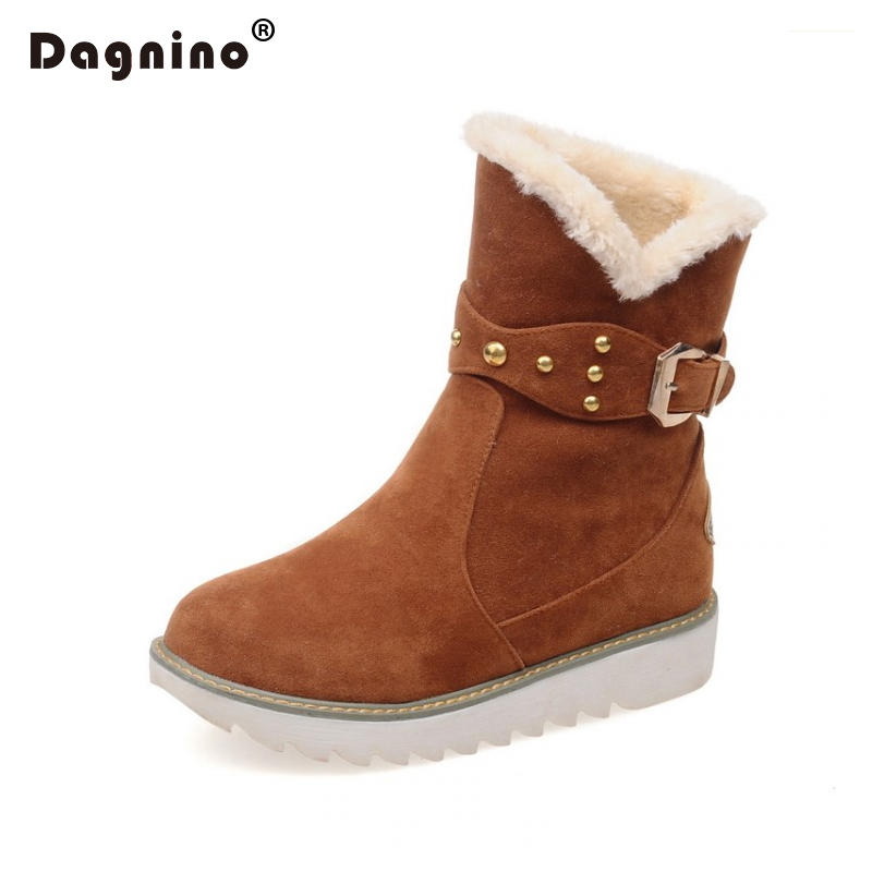 DAGNINO Warm Faux Fur Waterproof Snow Boots Women Winter Fashion Casual Rivet Belt Buckle Ankle Boots