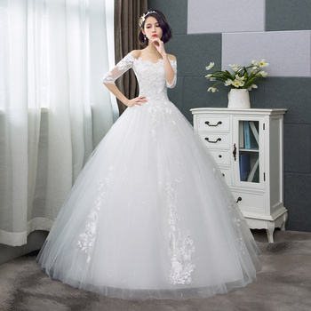 2019 Mrs Win China Cheap Wedding Dress Half Sleeve Sexy Boat Neck Vintage Wedding Dresses Lace Up Princess Wedding Gown