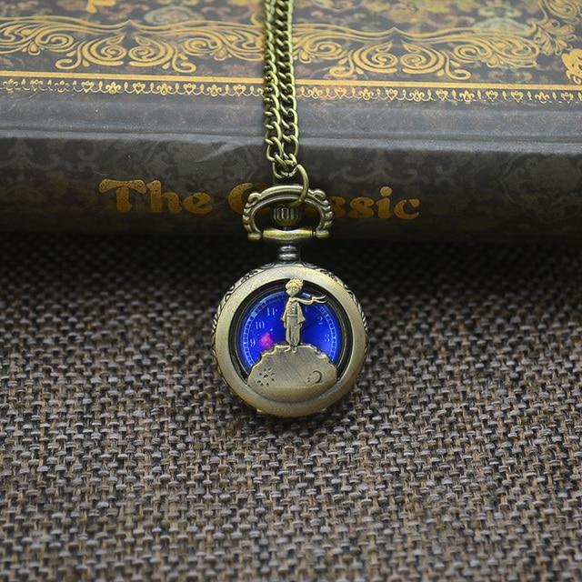 Wholesale Fashion NARUTO Pocket Watch Blue Planet Women Necklace Exquisite Little Prince Design Fob Watches Relogio De Bolso