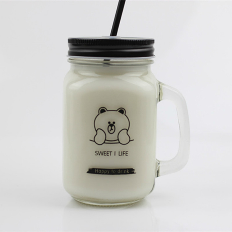 450ml Cartoon Straw Mug Bear Cummins Glass Mason Bottle with Handle Milk Tea Couple Cup Juice Cold Drink Mug Cover Summer Casual centrepiece