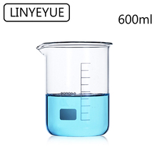 LINYEYUE 600mL Glass Beaker Borosilicate Glass Measuring Cup high temperature resistance Laboratory Chemistry Equipment linyeyue 2000ml glass beaker borosilicate glass measuring cup high temperature resistance laboratory chemistry equipment
