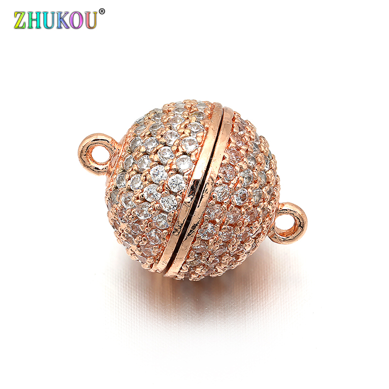 12mm Brass Cubic Zirconia Round Magnetic Clasps Hooks DIY Jewelry Findings Accessories Hole 1 2mm Model VK24 in Jewelry Findings Components from Jewelry Accessories