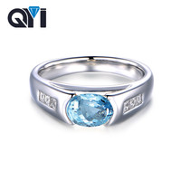 QYI 925 Sterling Silver Natural Sky blue Topaz Rings for Women 1.25 ct Oval Cut Gemstone Engagement Ring Wedding Party ewelry
