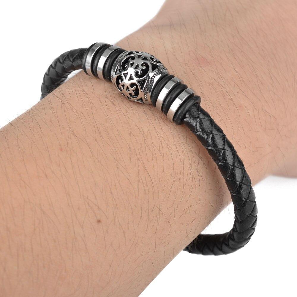 Kirykle Punk hommes bracelet décontracté és en cuir noir Bracelet en acier inoxydable Bracelets en cuir de vache à la main bracelet perlé 6