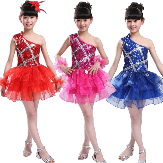 e13fb6b67 Girl Sequined Jazz Dance wear costumes Ballroom Party Stage Dancing ...