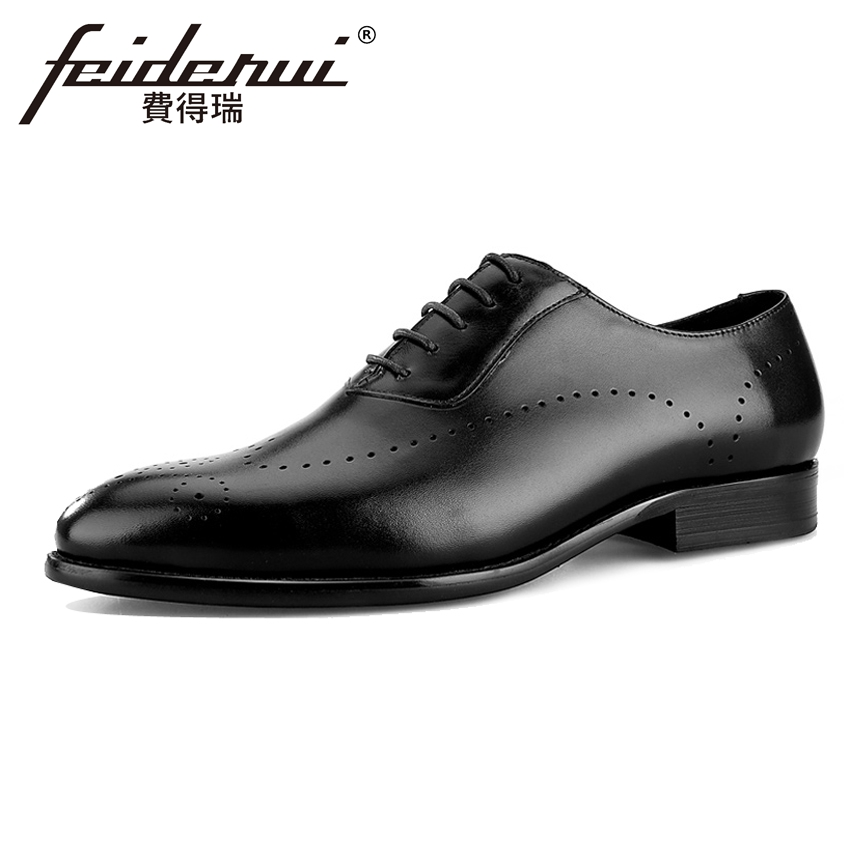 Luxury Genuine Leather Mens Breathable Oxfords Formal Dress Round Toe Male Wedding Party ...