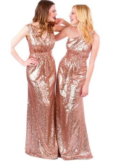 Long sequined sparkly best sales one shoulder convertible bridesmaid dress hot sale cheap bridesmaid dress for women PD160074