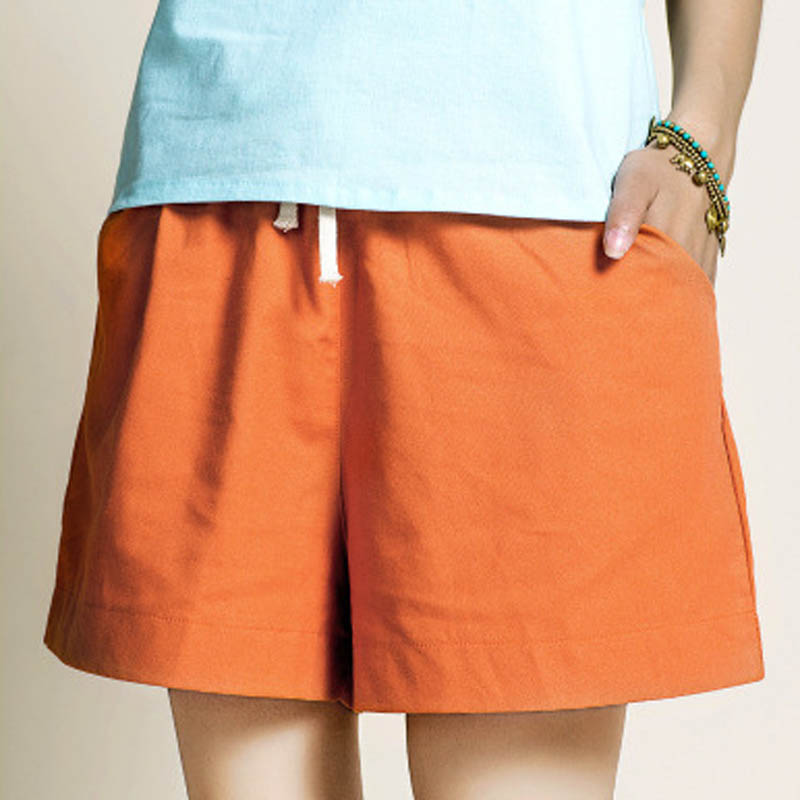 Cotton Linen Elastic Waist Women   Shorts   Candy Colors Loose Casual   Shorts   Plus size Women Vintage   Shorts   Wide Leg   Shorts