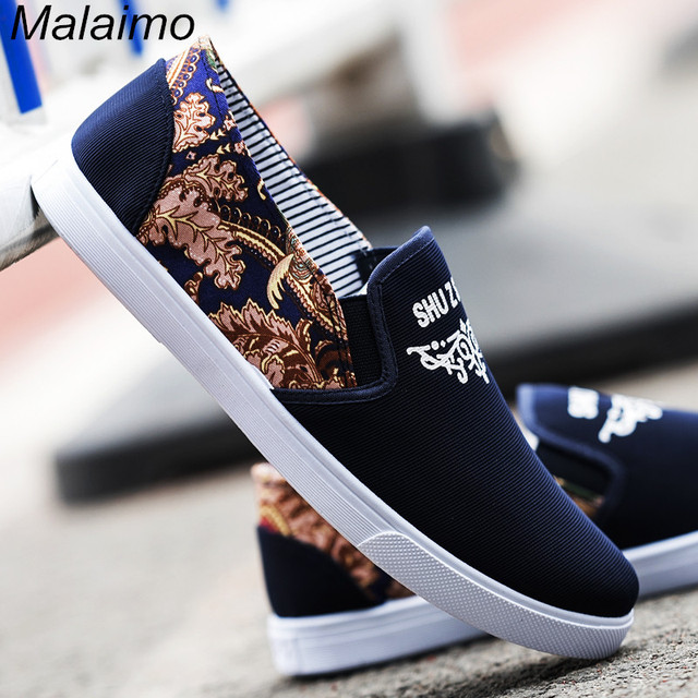 88390141307e US $15.97 55% OFF|New Man Breathable Cloth Shoes Spring & Autumn canvas  shoes Fashion printing flower Male Casual shoes Comfortable non slip  shoes-in ...